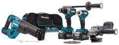DK0126G401 Kombi-Set 40 V max. 4,0 Ah Li-Ion DF001G Akku Bohrschrauber + TD001G Schlagschrauber + GA005G Winkelschleifer + JR001G Säbelsäge