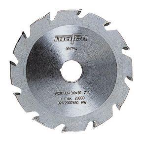 Nutenfräsblatt ellipsenförmig, Hartmetall, 120 x 4,2 x 20 mm, 12 Zähne